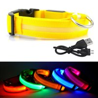 Wholesale Pet Cable - USB Rechargeable LED Dog Collar Night Safety Flashing Glow Pet Dog Cat Collar With Usb Cable Charging Dogs Accessory In Stock Wholesale