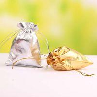 voile torbalar toptan satış-İpli Organze Vual Takı Favor Düğün Şeker Hediye Kılıfı Çanta 7X9 cm