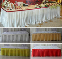 Wholesale White Table Cloths Wholesale - 2016 Fashion colorful ice silk table skirts table cloth runner decor wedding table skirt  hotel table decoration