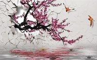 Wholesale Figure Wallpaper - flower wallpaper Apricot wall peach flowers and birds figure 3d landscape wallpaper