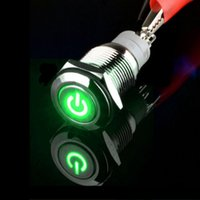 Gros-12V 16mm LED verte Power Light Symbole Push Button Switch Sales Toggle Metal