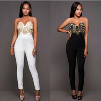 Wholesale Tights Jumpsuit White - 2016 Top Sale Plus Size Polyester Solid beading Skinny Jumpsuits & Rompers For Women tight Mujer Slim Casual Jumpsuit