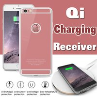Wholesale Iphone Charging Cover - QI Wireless Charger Receiver Case Universal Adapter 5V 1A Charging Power Charger Cover For iPhone 7 Plus 6 6S SE 5S 5 With Retail Package