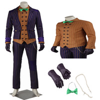 Wholesale Arkham Joker - High Quality COS Batman: Arkham Knight Joker Cosplay Costume Adult Full Set Halloween Part Chrismas Customize