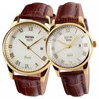 Wholesale Couple Watches Leather - lovers Watches Couples Watches 2017 New Brand Quartz Watch Women Men Leather Wristwatches Fashion Casual Watch 2 pcs