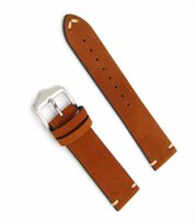 Wholesale Genuine Handmade Leather Belts - 20 22mm Hot New Men Women Genuine Cowhide Suede Leather Handmade Stitched Brown Watch Band Strap Belt Silver Polished Pin Buckle