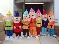 Wholesale Dwarf Mascot Costume Cartoon - Customized Adult Snow White Seven Dwarfs Cartoon Mascot Costume EVA Clothing Walking Doll Dress New Year Party Performing Props