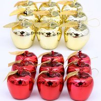 Wholesale Plastic Christmas Ornaments Decorate - New Year Christmas Apple Christmas Tree Decoration Ornament gift Hanging Apples 4cm 12pcs dozen Electroplate Xmas Decorate free shipping