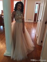 Wholesale High Glitz Dresses - New Champagne Two Pieces Prom Dresses 2016 Hot Sheer High Collar Beaded Crystal Backless Long Glitz A Line Party Evening Gowns Custom BO7069