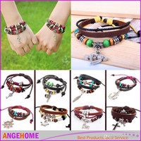 Wholesale Antique Brass Rivets - New Designs Leather Bracelet Antique Cross Rivet bracelet Anchor Love Peach Heart Owl Bird Pearl Knitting Charm bracelets