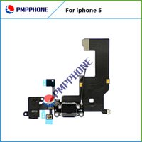 Wholesale Iphone5 Port - 100% Original Dock Connector USB Charging Port For iPhone 5 5G With Headphone Jack Tail Plug Flex Cable White Black For iPhone5