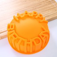 Wholesale Happy Birthday Mold - Wholesale 6 inch Happy Birthday cake mold round shaped microwave silicone Baking Pan 40 pcs lot DHL Free shipping