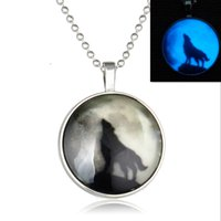 Wholesale ms sections - European and American fashion vast luminous moon wolf animal pendant long section of the luminous ball luminous gemstone pendant jewelry Ms.