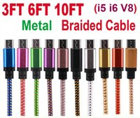 Wholesale Usb E6 - High Quality 1M 3ft 5 Colors Braided Fabic Nylon Woven USB Data Sync Charger Cable Cord Wire for Android Phone Smart Cell Phone OM-E6