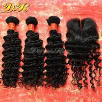 Wholesale Deep Wave Closure Bundles - Lace Closure With Brazilian Hair Bundles Deep Wave Human Hair Weave Unprocessed Hair Indian Malaysian Peruvian Hair Extensions