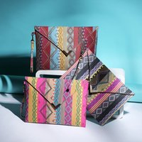 Wholesale Cheap Small Envelopes - 2016 Boho Totem Printing Canvas Wristlet Handbag Womens Envelope Clutches Purse Ladies Evening Party Bags Cheap