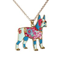 Wholesale Wholesale Clothing Chain - Color dog jewelry necklace simple fashion ladies sweater chain zodiac pendant necklace colorful clothing accessories