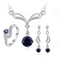 Wholesale Wholesale Jewelry Sets Purple - Fashion 925 silver plated jewelry sets Noble Necklace Earrings ring Sets Purple Blue White Austrian Element Crystal 4 color to choose S717