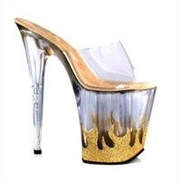 Wholesale Sandal Material - 20cm High-Heeled Platform Sandals Flame Sexy Shoes Material 8 Inch High Heels 4 Inch Platforms Stripper Shoes