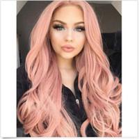 kadın perukları toptan satış-Moda doğal dalga saç gül altın renk duman pembe isıya dayanıklı fiber tutkalsız uzun peruk bayan sentetik dantel ön peruk