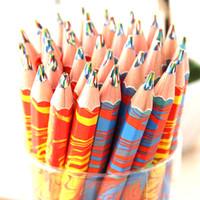 kurşun kalem eko toptan satış-Çevre Dostu 20pcs / lot Karışık Renkler Gökkuşağı Kalem Sanat Çizim Kalemleri Yazı Skeçler Çocuk Graffiti Kalem Okul Malzemeleri