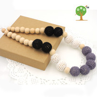 Wholesale Crochet Nursing Necklaces - Chunky Teething necklace Classic black Cream Grey crochet beads wooden Crochet Nursing teether baby toy breast feeding eco friendly NW1807