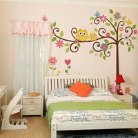 Wholesale Owl Scroll Wall Decal - 100pcs large owls scroll trees wall stickers kids bedroom decorations nursery cartoon children home decals ZY1001 animals mural arts 4.0