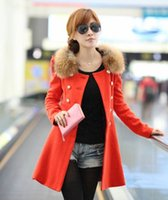 Wholesale Double Breasted Woman Winter Coat - New autumn and winter women's woolen coats Slim long section of double-breasted wool collar woolen Outerwear 80#