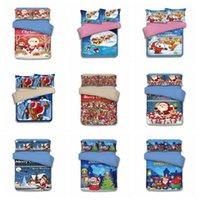 Wholesale King Size Santa Claus Bedding - 15 Styles Christmas Bedding Sets Cartoon Santa Claus Reindeer Duvet Covers for King Size Bedding Duvet Cover Pillow Cover Gift CCA7976 10set