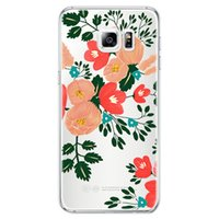 For Samsung blue dahlia flowers - For Samsung Galaxy S7 S7 EDGE silicone case Dahlia flowers ultra thin Plating TPU cell phone cases S6 edge Note4 note5 mix design