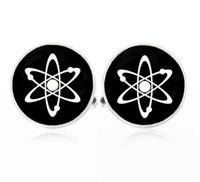 Wholesale Photo Pairs - 1 pair 16mm silver cufflinks Atom Cufflinks Handmade Vintage Cuff links for men Glass photo Jewelry