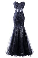 Wholesale Strapless Sequins Mermaid Dress - Abendkleider Tulle Sleeveless Dress Formal Pageant 2018 Cheap Sweetheart Long Mermaid Evening Dress Vestido De Festa
