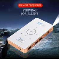 Wholesale android home theater for sale - Group buy mini DLP Projector C6 Android Amlogic S905X BT4 Home Theater fuLl HD P Proyector Support TF Card and hard disk