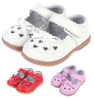Wholesale Toddler Girl Genuine Leather Sandals - 2016 Hot Toddler Little Kid Sandal for Girls Genuine Leather Bow Heart Pattern Beathable Anti-friction Soft TPR Sole Pigskin Linning