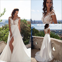 Wholesale Top Short Beach Wedding Dresses - 2016 Sexy Illusion Cap Sleeves Lace Top Chiffon A Line Wedding Dresses Tulle Lace Applique Split Summer Beach Bridal Gown With Buttons
