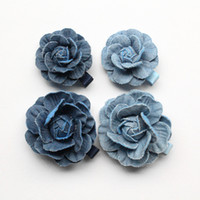 Wholesale Navy Hair Clips - Top Quality 20pcs Floral Hair Accessories Navy Blue Camellia Flower Girls Hairpins Cowboy Material 5cm Diameter Fashion Hair Clips