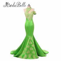 michael cinco lange ärmel groihandel-Grüne Meerjungfrau Abendkleider 2018 Weiß Spitze Appliques Long Abendkleid Formale Party Kleid Vestido De Festa