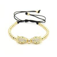 Wholesale bracelet animal leopard - Wholesale 10pcs lot 4mm Copper Beads with Micro Paved Clear Cz Macrame Leopard Bracelets Men Jewelry Sale