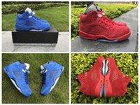 Wholesale Bulls Balls - 2017 Che Retro 5 Boys Basketball Shoes Blue Raging Bull Suede White Camo Sneakers Retros 5s Men's Basket ball Shoes Sneakers Sports Trainers