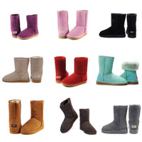 Wholesale Women Fur Boots - 2017 Winter New WGG Australia Classic snow Boots Cheap winter Knee Boots fashion discount Ankle Boots shoes many colors for woman size 5-10