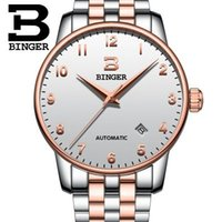 Wholesale Style Steel - Fashion Simple Style Top Luxury Brand Binger Watches Men Stainless Steel Wristwatches Automatic Big Gold Dial Clock Man Watch