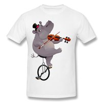 Wholesale Yellow Hippo - New Coming Funny hippo on an unicycle Short Sleeve Mens Shirts O Neck Tee Shirts High Quality T Shirt Funny.