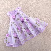 plaid tutu spitze kleid großhandel-Mädchen Spitze Kleider Mode ärmellose Prinzessin Kleid Kinder Sommer 3D Blumen Kleid 3 Farben für 2 ~ 12 Jahre Kinder