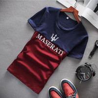 Wholesale Logo Luxury Cars - Wholesale-3 Color Luxury Car logo Pattern Homme T-shirt Real 95% Cotton High Quality Men T shirt Plus Size M-5XL WHH081