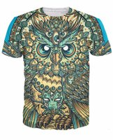 Wholesale Owl Tees - Wholesale-2016 New Arrive vibrant colors and textures God Owl of Dreams T-Shirt sick tee Summer Style Casual t shirt For Unisex Women Men