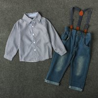 Wholesale Boys Clothes T - New Arrival Baby Boys Striped Sets Gentel Long-Sleeved T-shirt+Jeans Kids Clothes Boys Suits Spring Children Outfits Clothes Gift 3T-8T