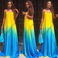 Wholesale Cheap Women Camisoles - 2016 Summer Suit-dress Full Maxi European Printing Camisole Longuette Blue Gradual Change Casual Chiffon Dress Cheap Bodycon Dresses