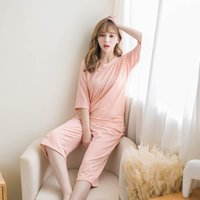 Wholesale korean sleepwear - Wholesale- Pajamas Sets Woman Summer Short Sleeve Girl Lovely Korean Summer Thin Cotton Student Home Furnishing Lattice Leisure Sleepwear