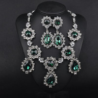 Wholesale Earrings Direct Selling - Earrings necklace with European and American fashion accessories wholesale manufacturer direct selling luxury emerald crystal earrings stud
