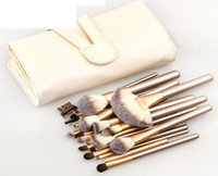 Wholesale Leather Makeup Brush Case - 12pcs 18pcs 24pcs Luxury Makeup Brushes Kit with PU Leather Bag Case Wood Handle Tube Pro Cosmetic Face Beauty Brush Tools Set